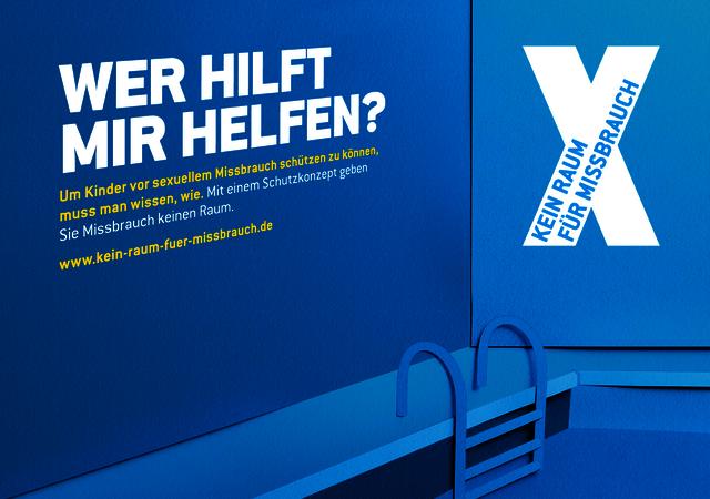 """Kampagnenmotiv der Kampagne """"Kein Raum für Missbrauch"""" - """"Wer hilft mir helfen?"""""""