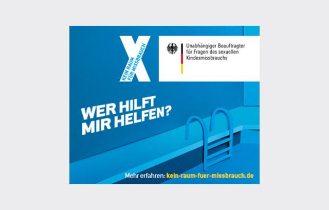 """Onlinebanner der Kampagne """"Kein Raum für Missbrauch"""" - """"Wer hilft mir helfen?"""""""