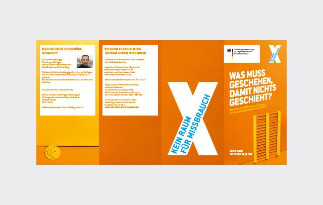 """Flyer der Kampagne """"Kein Raum für Missbrauch"""" Leichte Sprache"""