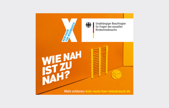 """Onlinebanner der Kampagne """"Kein Raum für Missbrauch"""" - """"Wie nah ist zu nah?"""""""