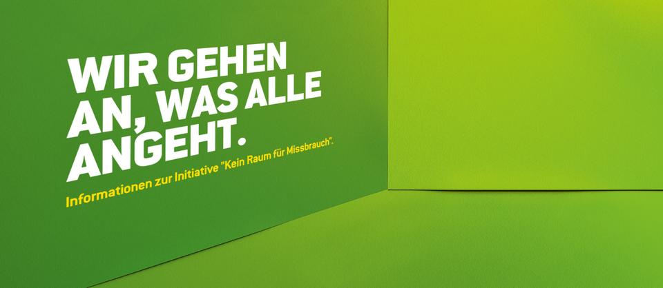 """Bühnenbild der Kampagne """"Kein Raum für Missbrauch"""" - """"Wie gehen wir an, was alle angeht?"""""""