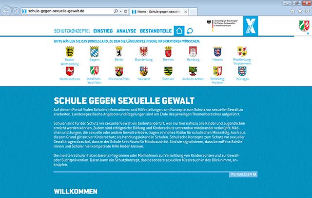 """Screenshot Website """"Schulen gegen sexuellen Missbrauch"""""""